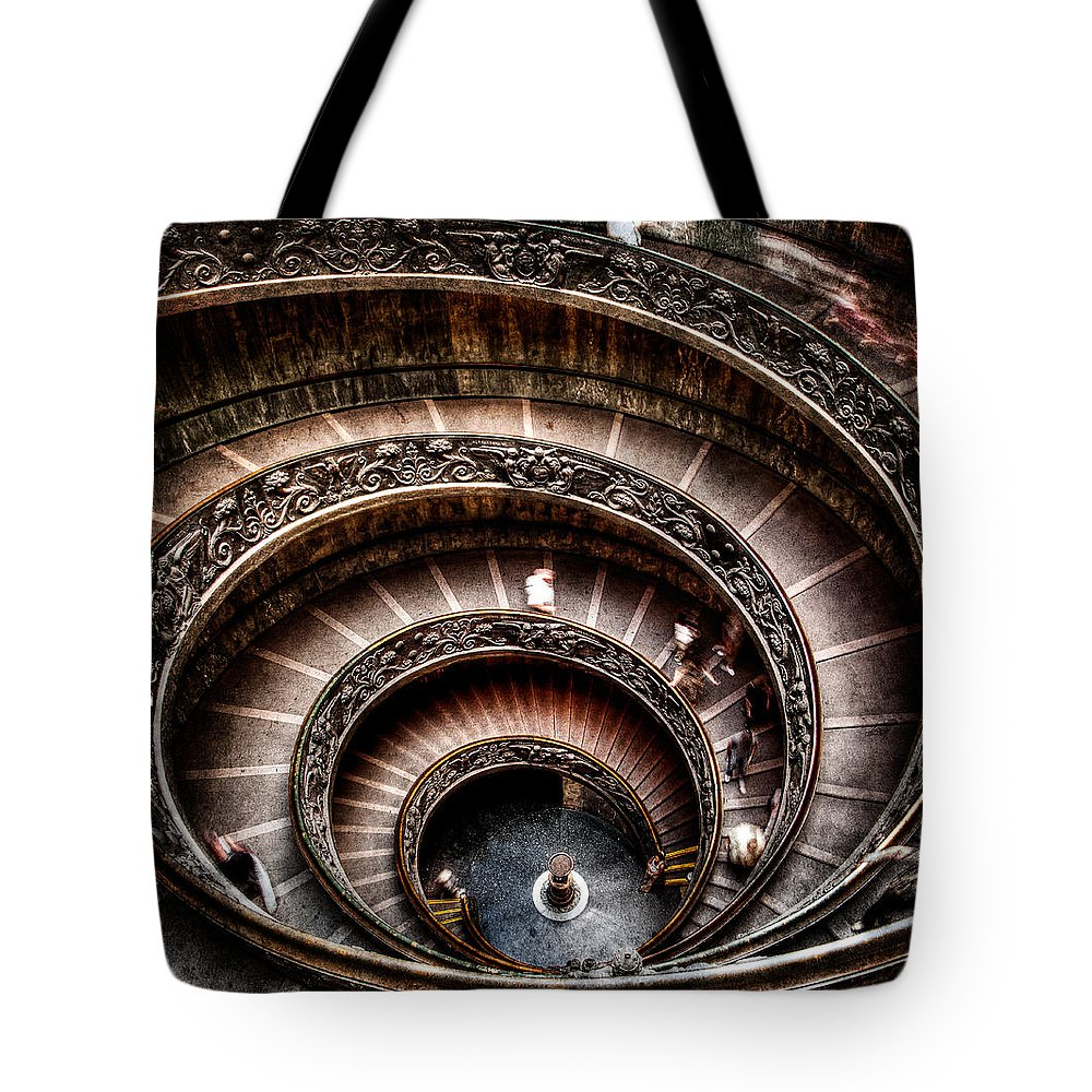Spiral Staircase Tote Bag featuring the photograph Spiral Staircase No2 by Weston Westmoreland
