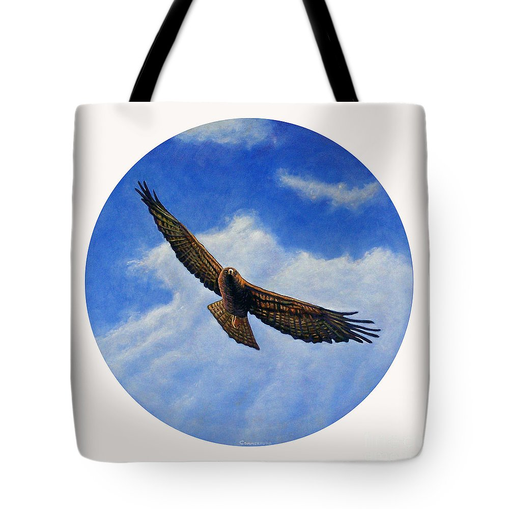 Hawk Tote Bag featuring the painting Spirit In The Wind by Brian Commerford