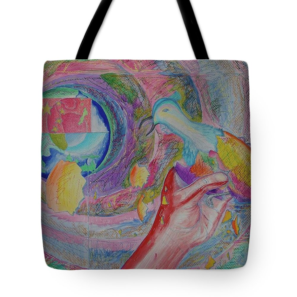 Johnpowellpaintings Tote Bag featuring the painting Spirit Of Piece by John Powell