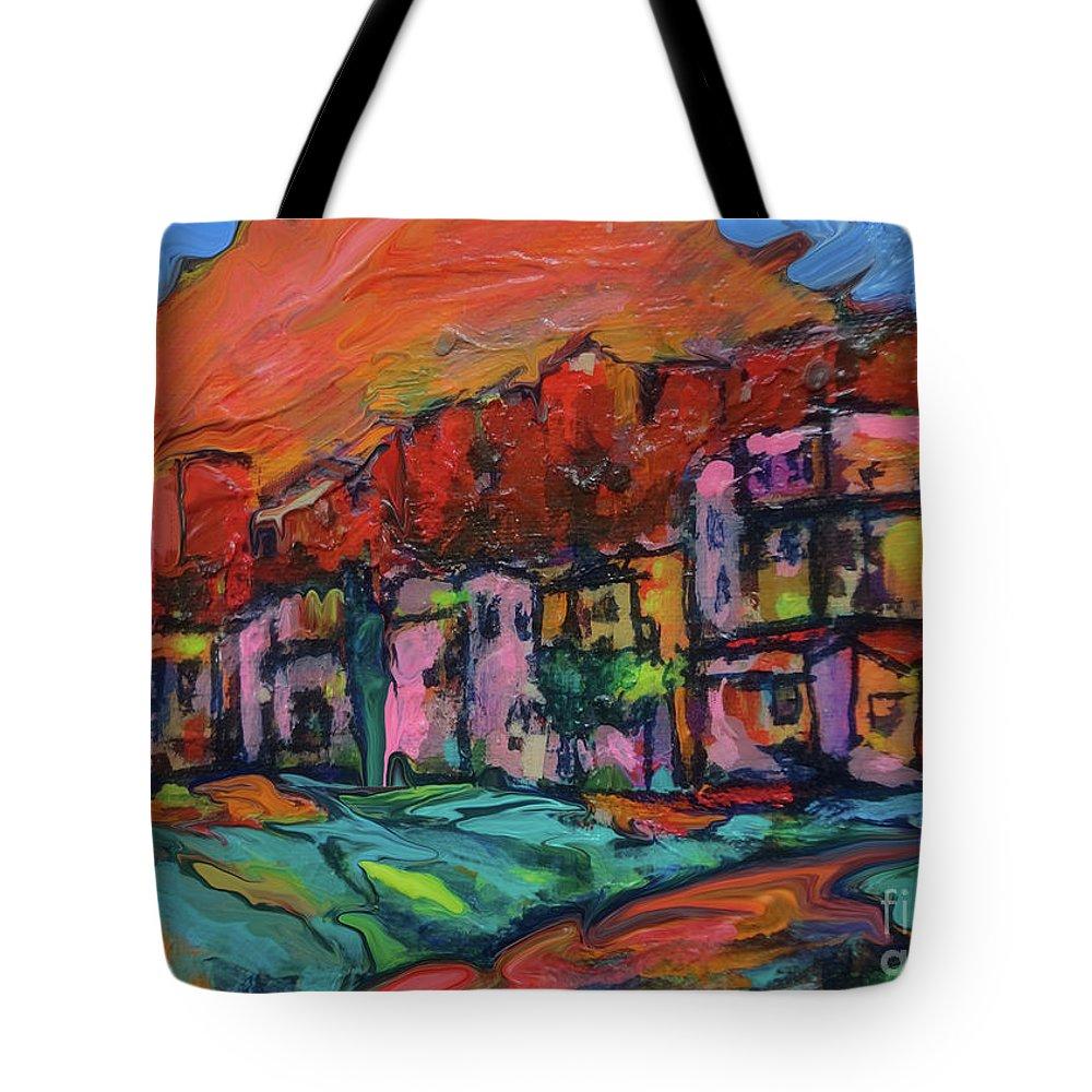 Spirit Of Santa Fe Tote Bag featuring the digital art Spirit Of Santa Fe by Zsanan Narrin
