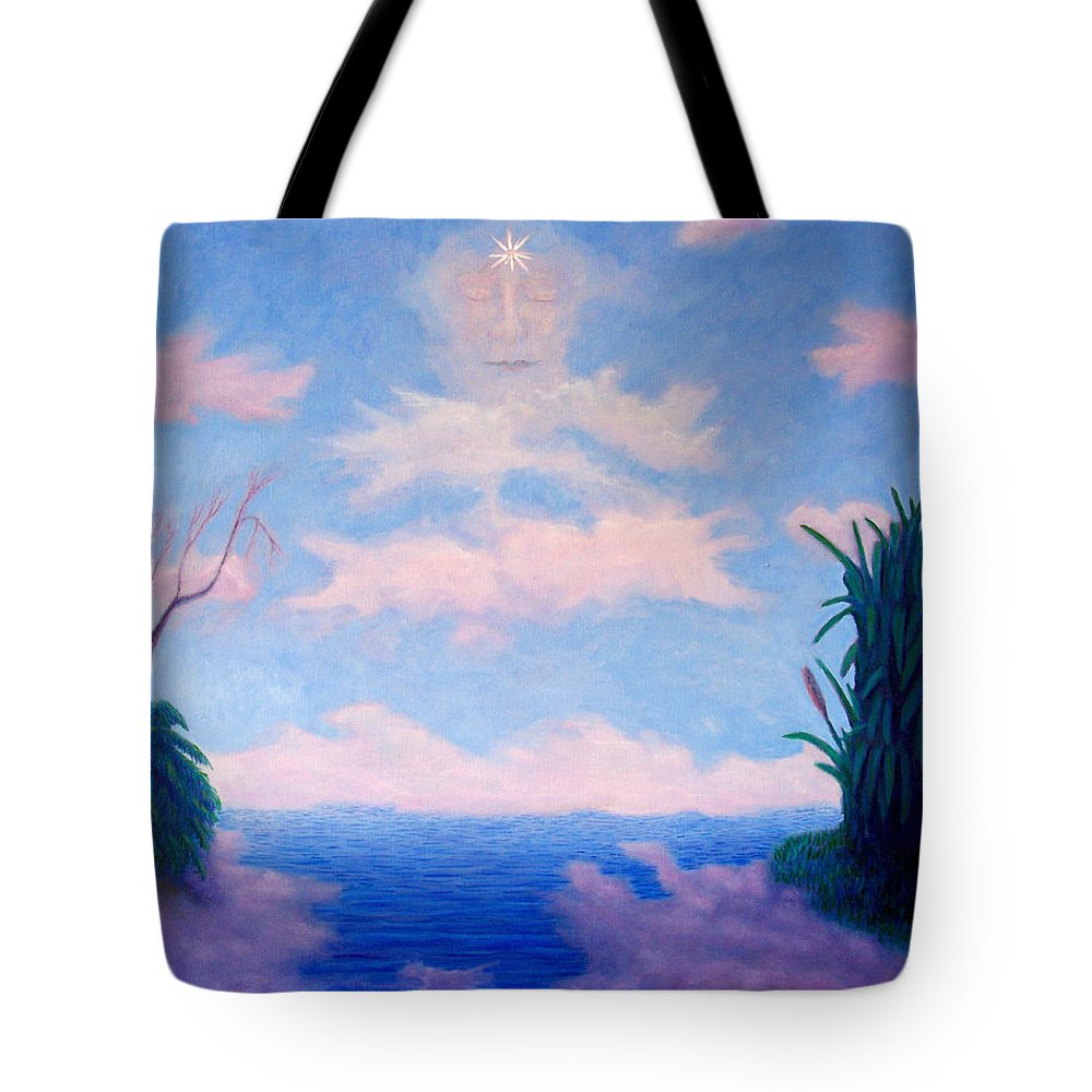 Buddha Tote Bag featuring the painting Spirit Of The Lake by Brian Commerford