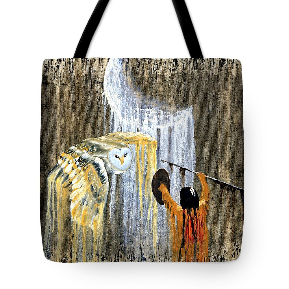 Indian Art Tote Bag featuring the painting Spirit Of The Night by Patrick Trotter