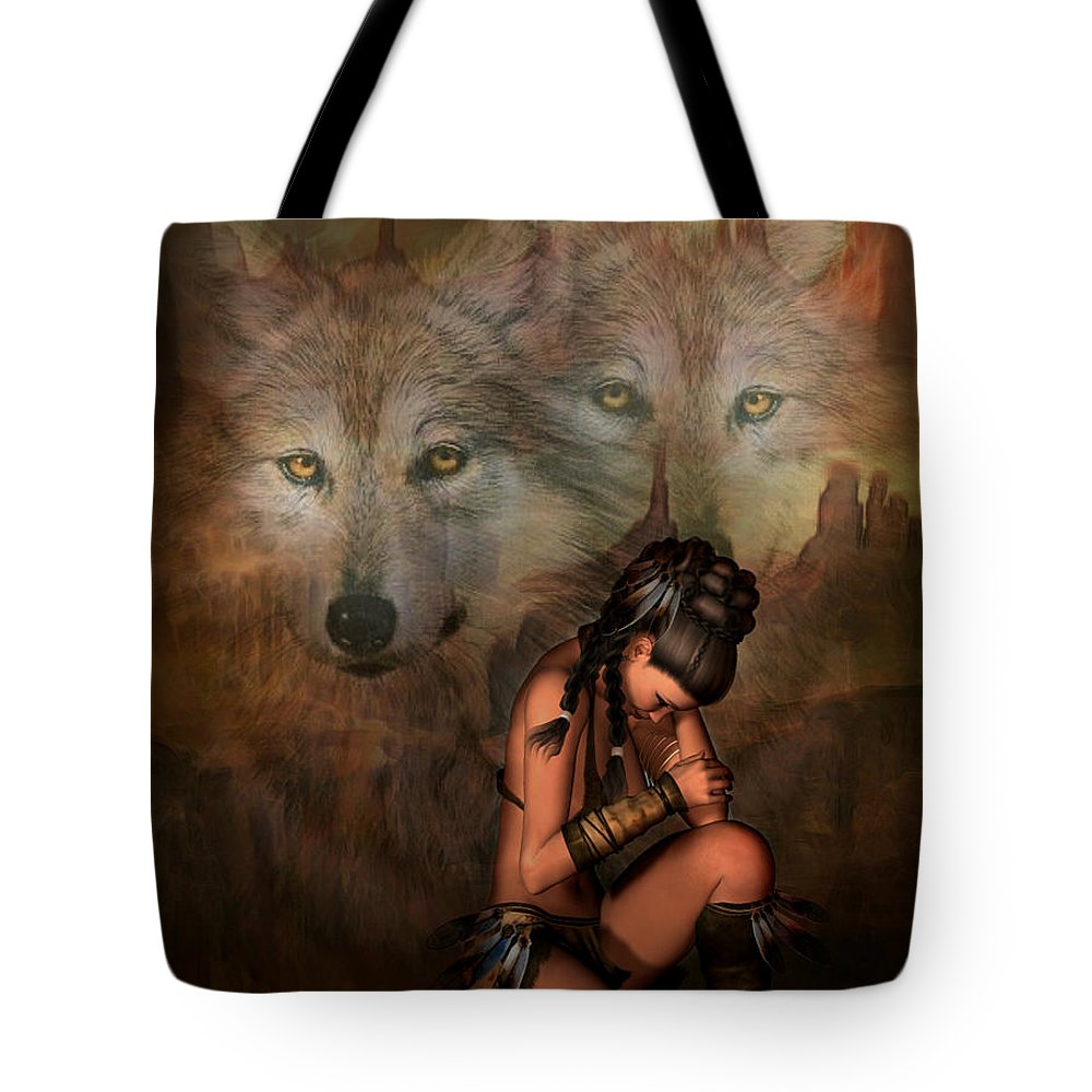 Wolf Tote Bag featuring the mixed media Spirit Of The Wolf 02 by G Berry