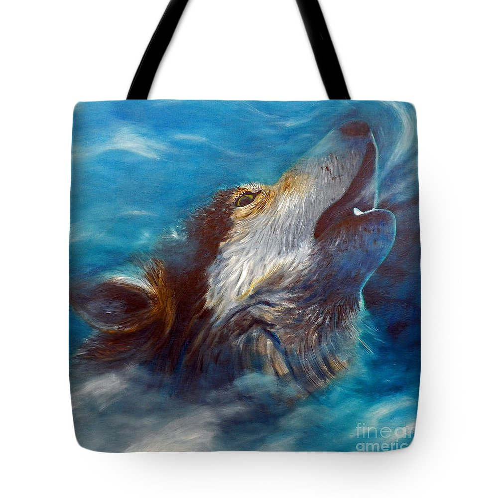 Wolf Tote Bag featuring the painting Spirit Of The Wolf by Brian Commerford