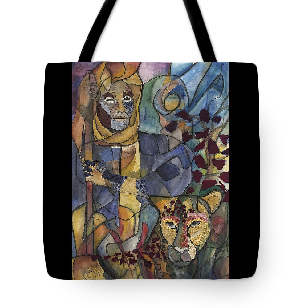 Man Tote Bag featuring the painting Spirit Tracker by Kimberly Kirk