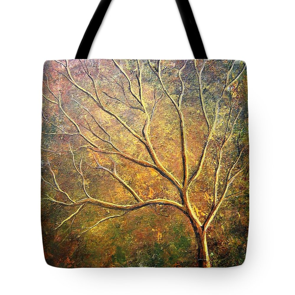 Tote Bag featuring the painting Spirit Tree 5 by Tami Booher