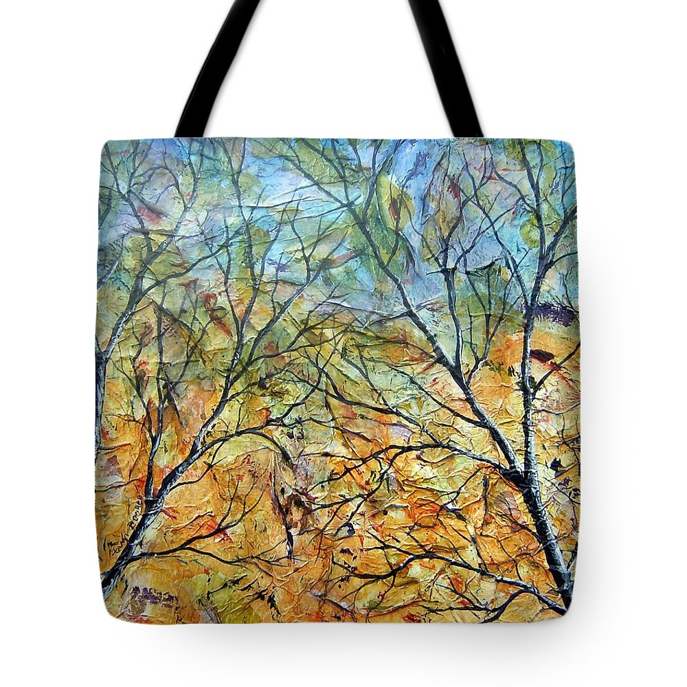 Tote Bag featuring the painting Spirit Trees 7 by Tami Booher