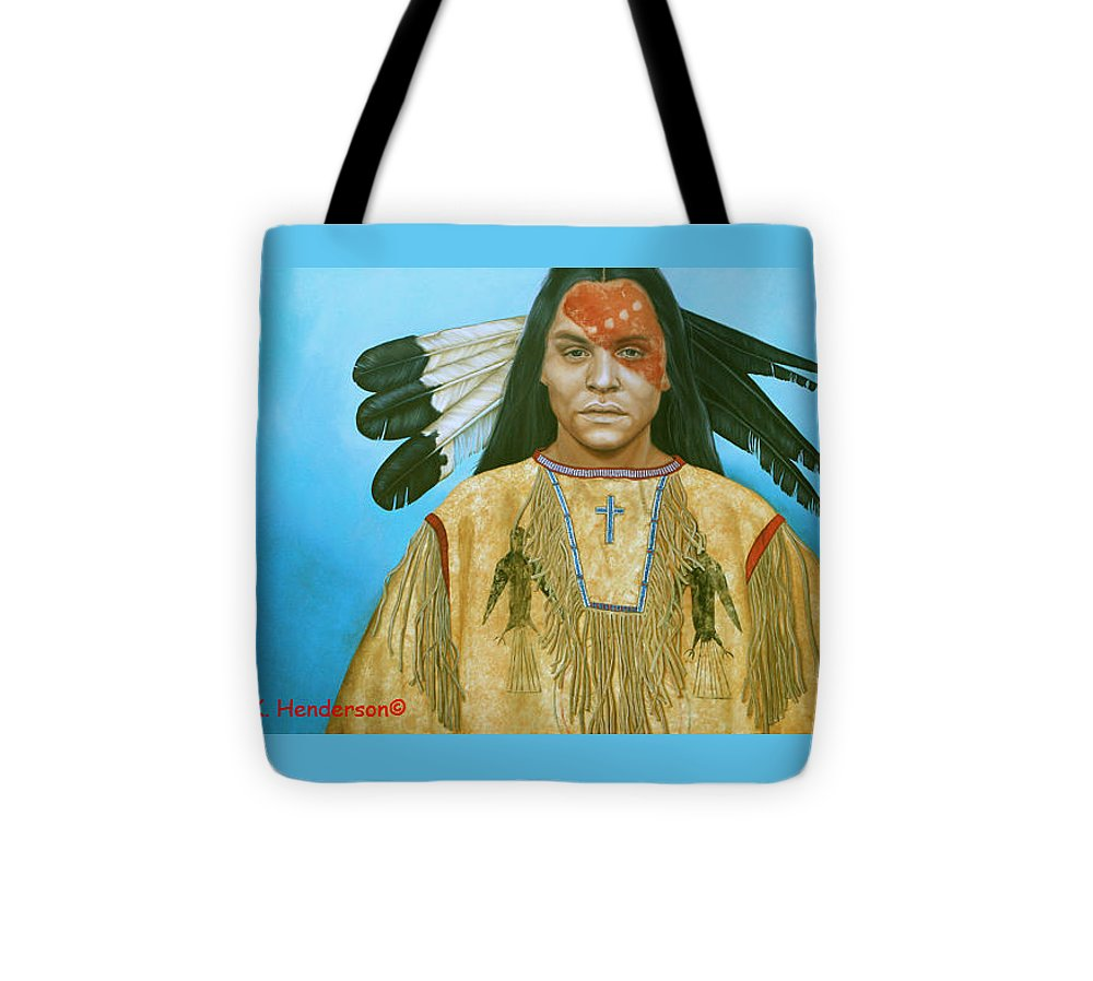 American Indian Tote Bag featuring the painting Spirit War by K Henderson