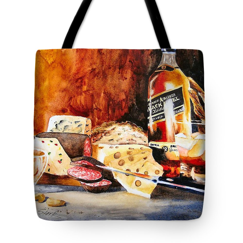 Scotch Tote Bag featuring the painting Spirited Indulgences by Karen Stark