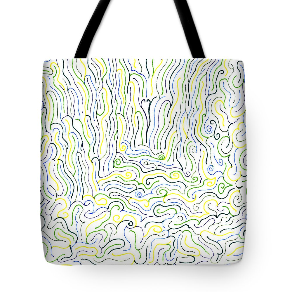Mazes Tote Bag featuring the drawing Spirits by Steven Natanson
