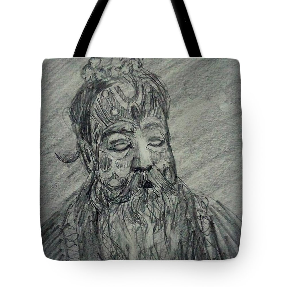 Sage Tote Bag featuring the drawing Spiritual by Vineeth Menon