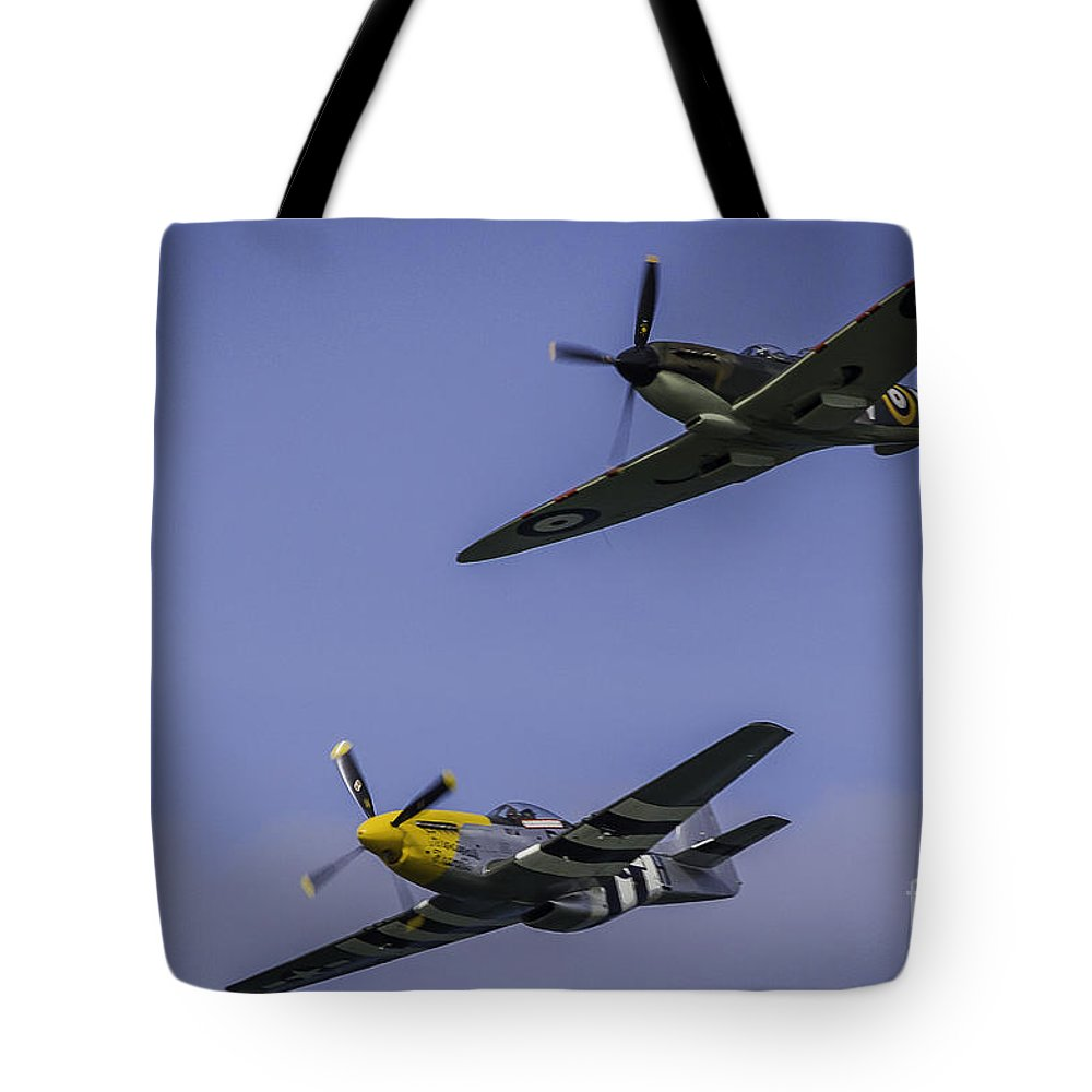 Aeroplane Tote Bag featuring the photograph Spitfire And Mustang by Alex Millar