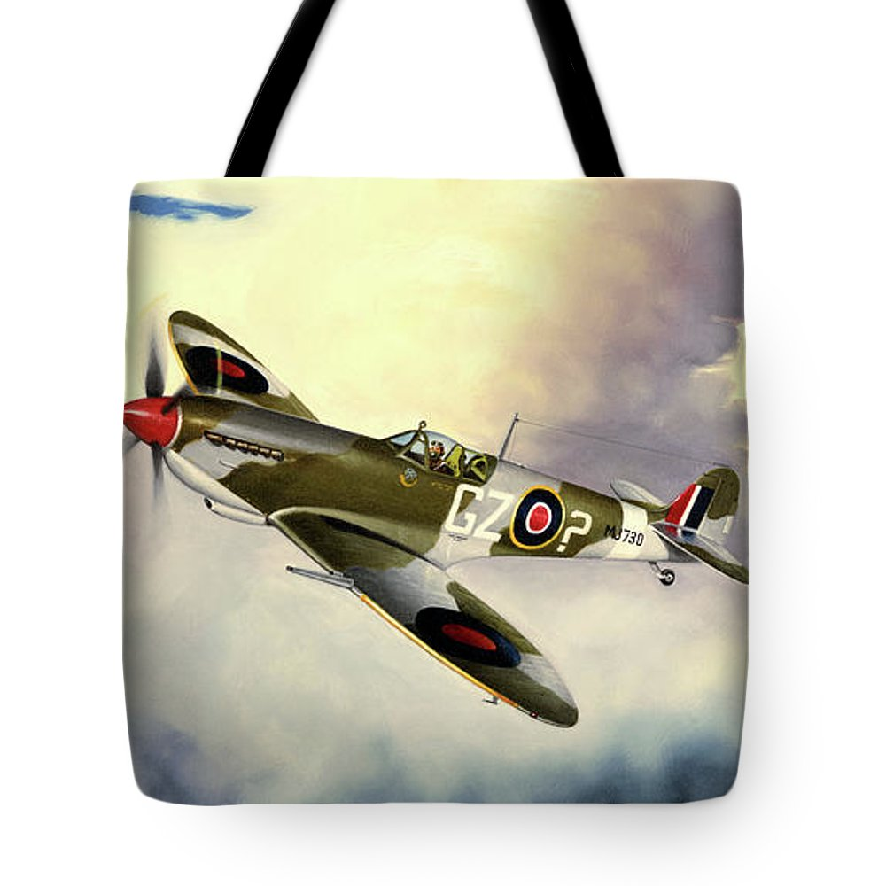 Military Tote Bag featuring the painting Spitfire by Marc Stewart