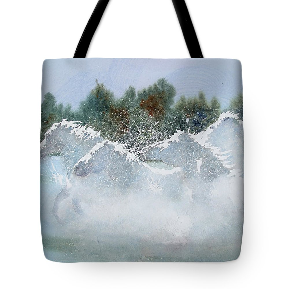 Horse Tote Bag featuring the painting Splash 1 by Ally Benbrook