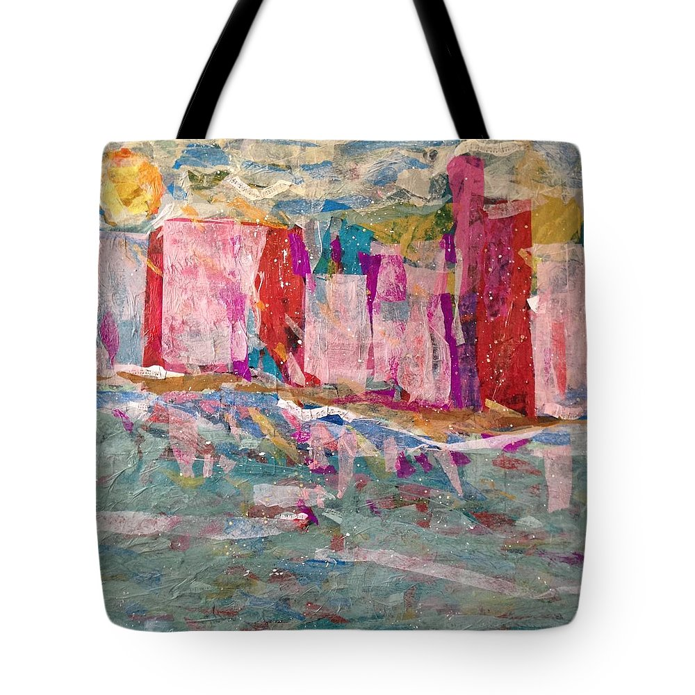 Cityscape Tote Bag featuring the painting Splash Of Happy On A Hot City Day by Jenny King