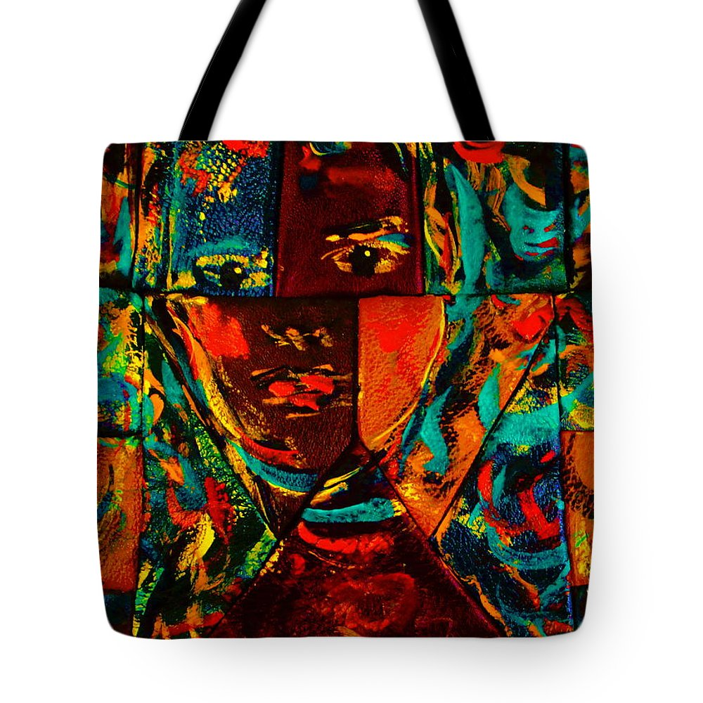 Abstract Tote Bag featuring the mixed media Split Personality by Natalie Holland