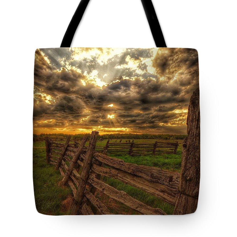 Split Tote Bag featuring the photograph Split Rail Cedar Fence Sunset by Twoblueowls Photography