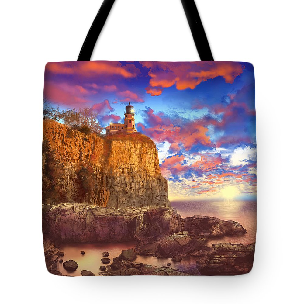 Lighthouse Tote Bag featuring the painting Split Rock Lighthouse by Bekim Art