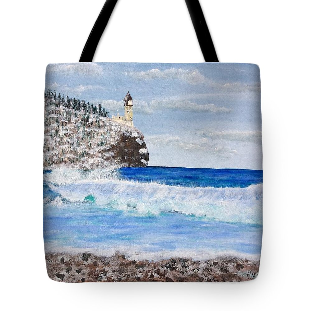 Split Rock Tote Bag featuring the painting Split Rock by Susan Peterson