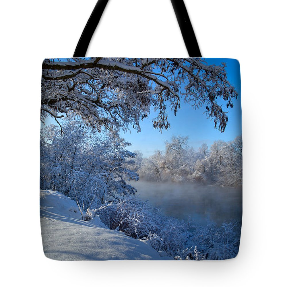 New Years Day Tote Bag featuring the photograph Spokane River Mist by Idaho Scenic Images Linda Lantzy