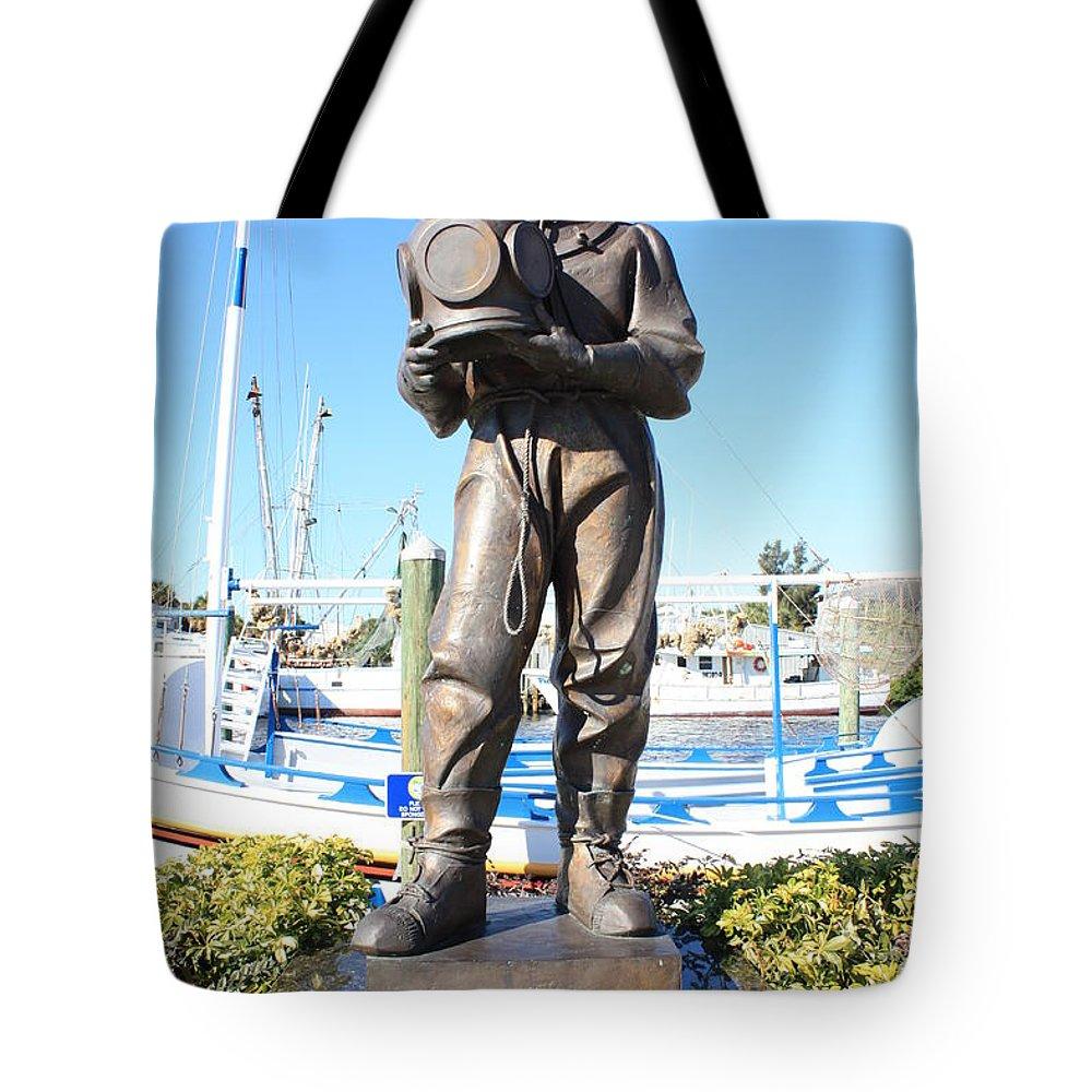 Tarpon Springs Tote Bag featuring the photograph Sponge Diver Memorial by Carol Groenen
