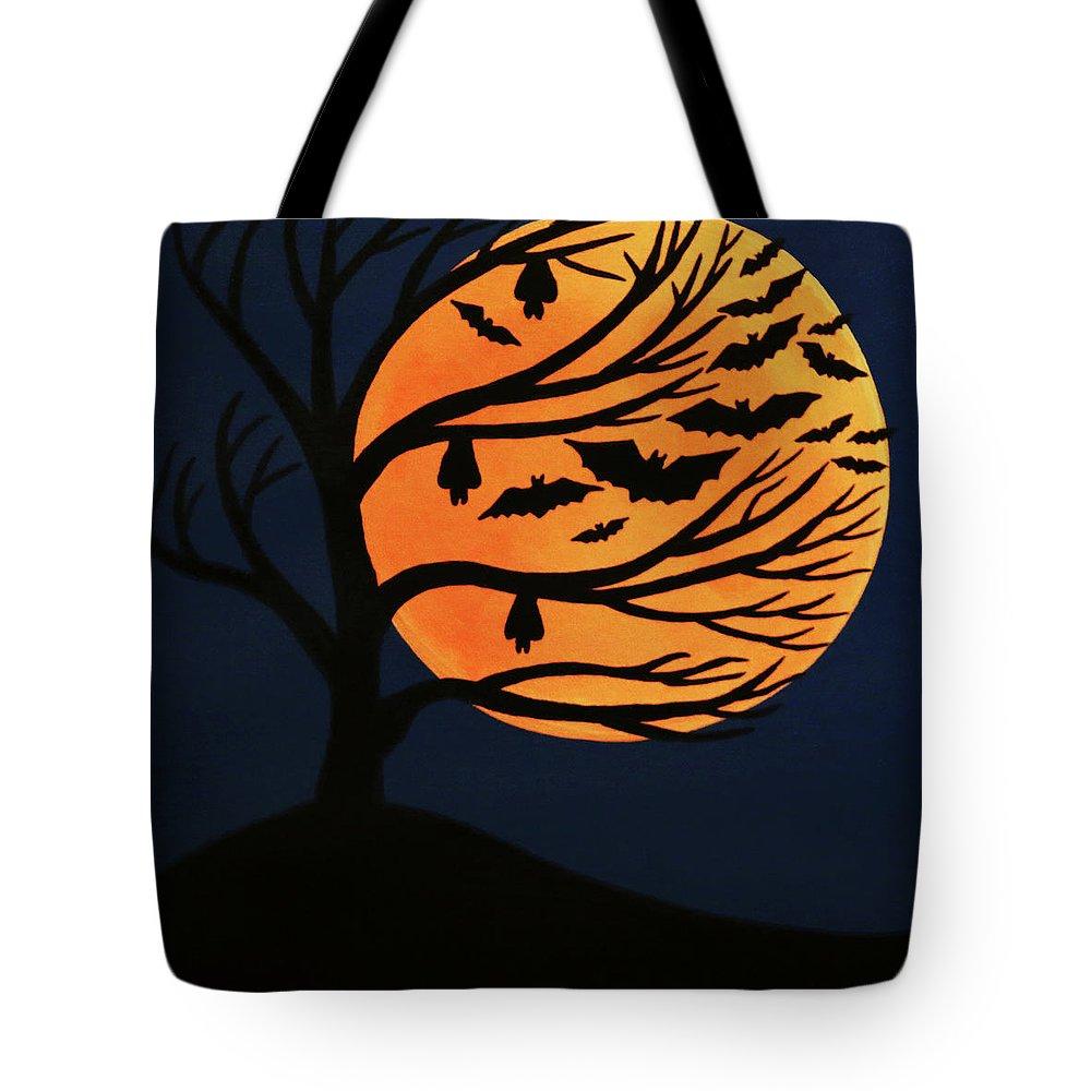 Spooky Bat Tree Tote Bag