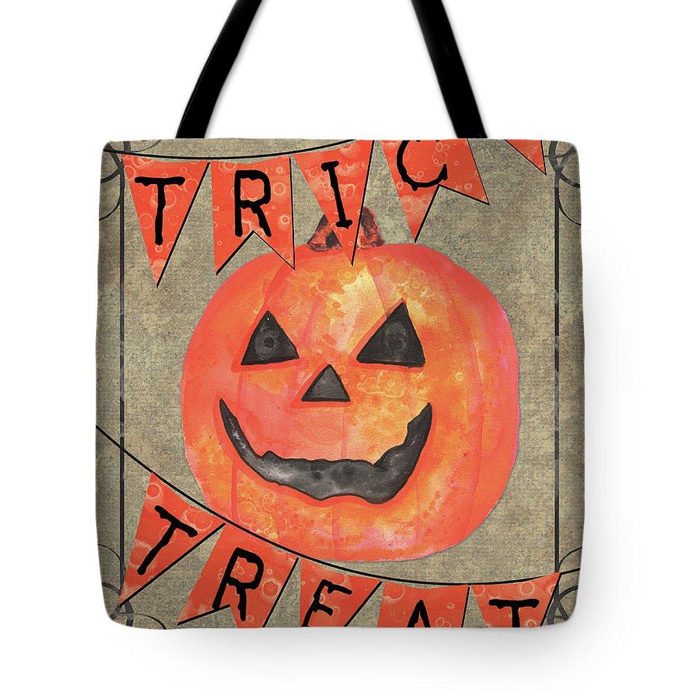 Pumpkin Tote Bag featuring the painting Spooky Pumpkin 1 by Debbie DeWitt