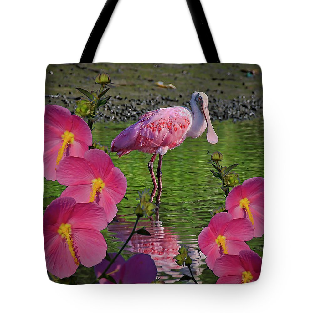 Spoonbill Tote Bag featuring the photograph Spoonbill Through The Flowers by TJ Baccari