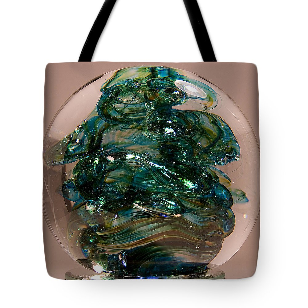 Glass Tote Bag featuring the sculpture Spot Of Teal by David Patterson