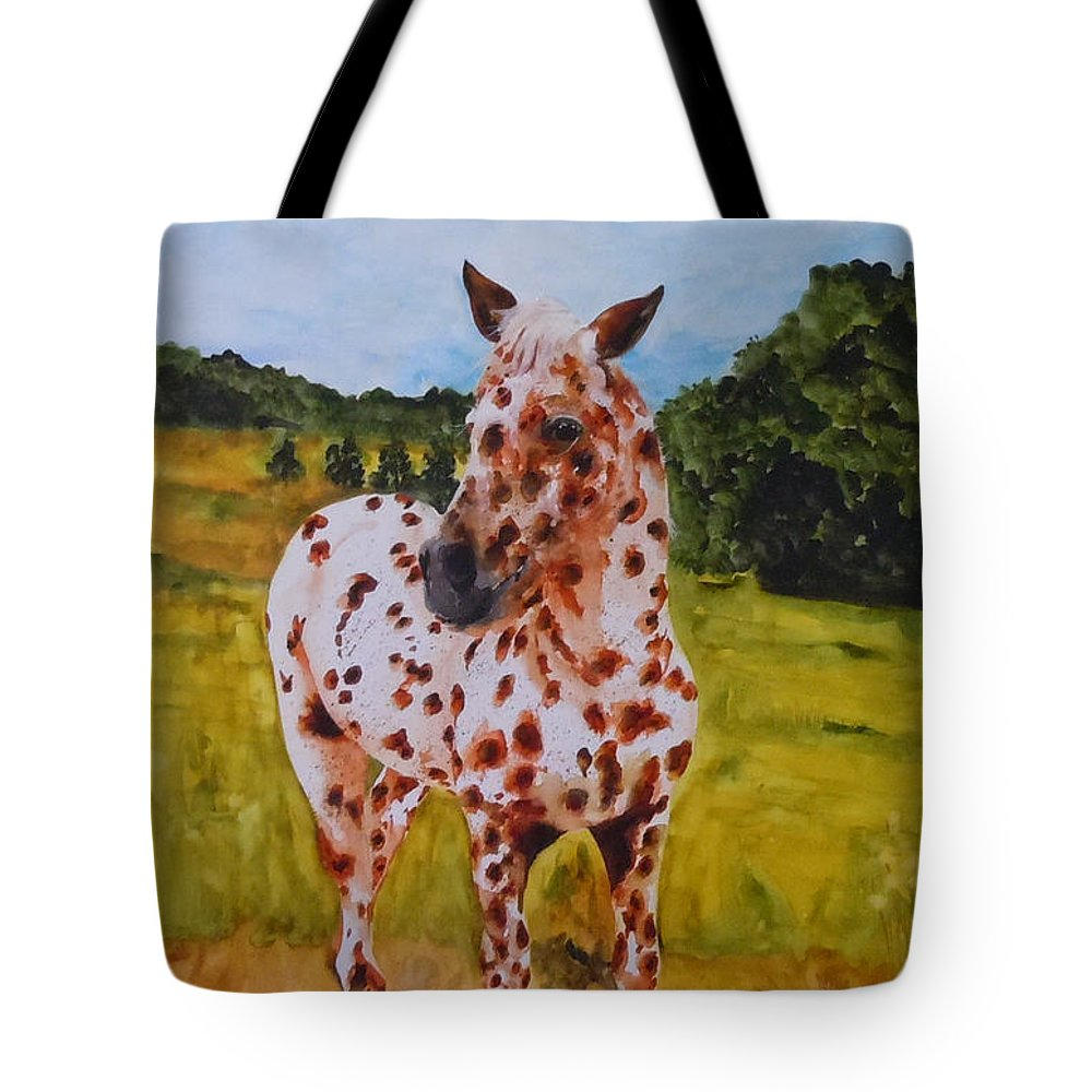 Horse Tote Bag featuring the painting Spotted In Hawaii by Jean Blackmer