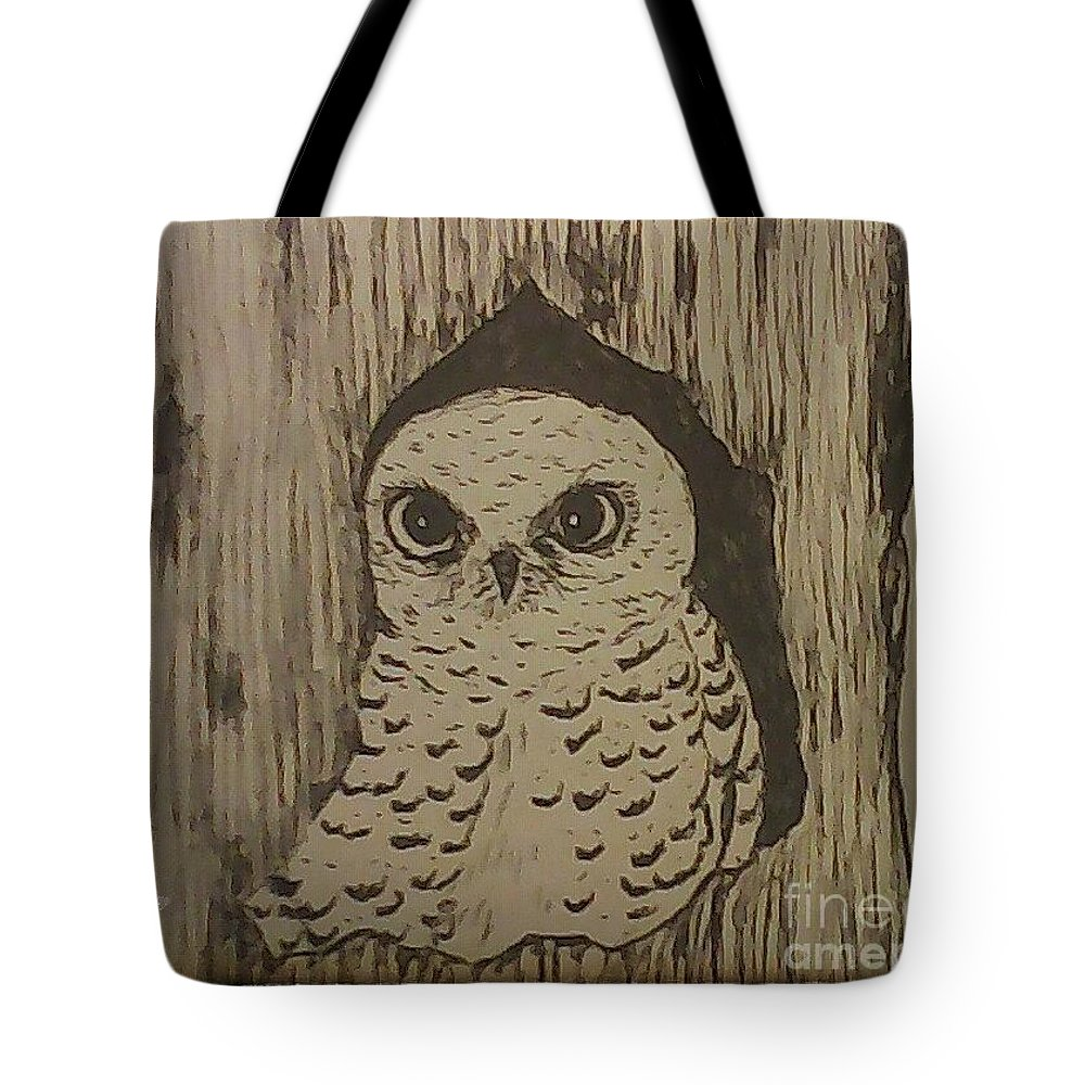 Owl Tote Bag featuring the drawing Spotted Owl by Ginny Youngblood