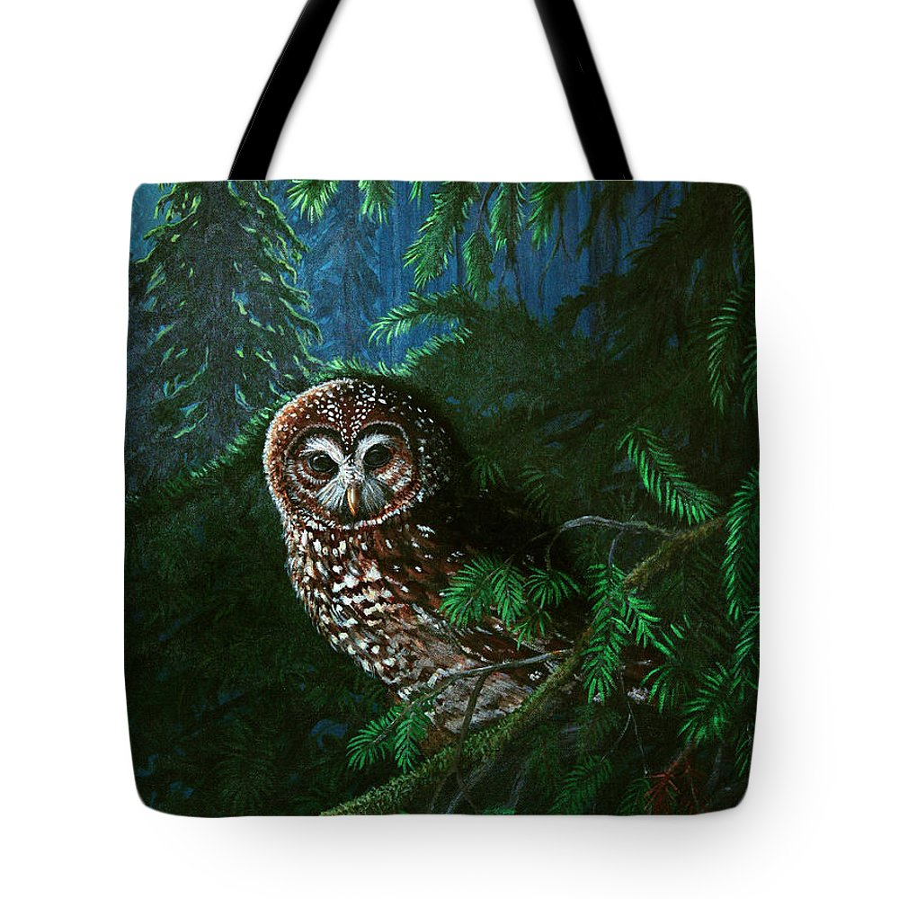 Owl Tote Bag featuring the painting Spotted Owl In Ancient Forest by Nick Gustafson