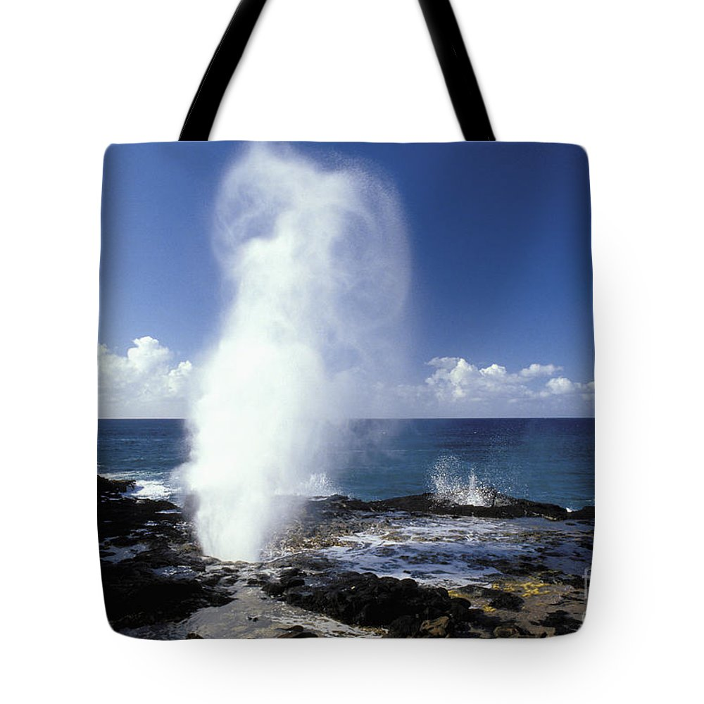 Above Tote Bag featuring the photograph Spouting Horn Blow Hole by Mary Van de Ven - Printscapes