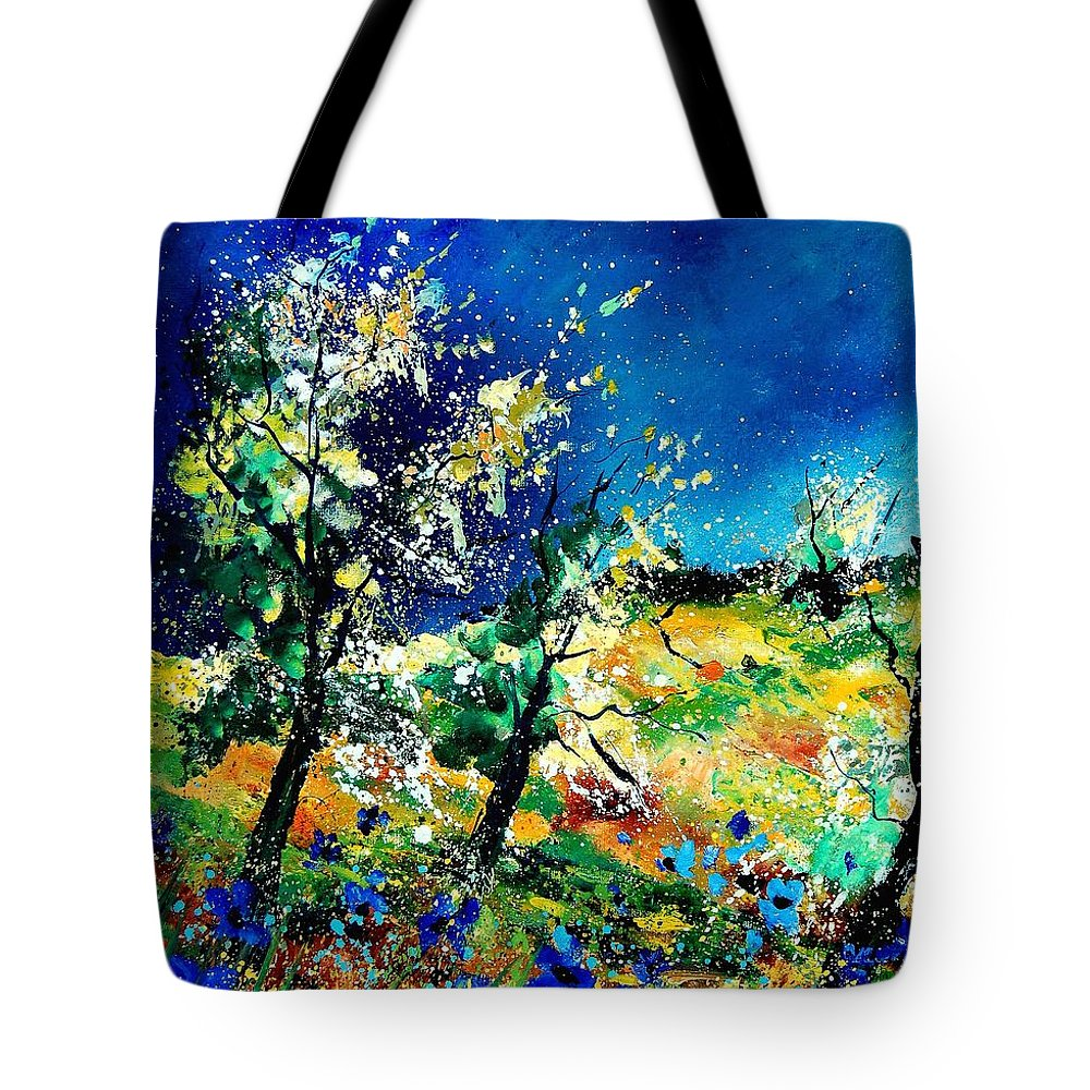 Tree Tote Bag featuring the painting Spring 56 by Pol Ledent