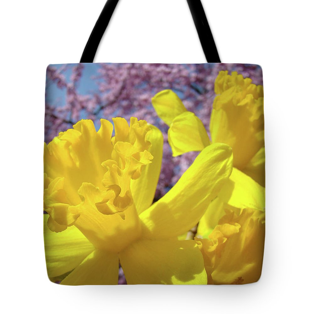 Flowers Tote Bag featuring the photograph Spring Art Prints Yellow Daffodils Flowers Pink Blossoms Baslee Troutman by Baslee Troutman