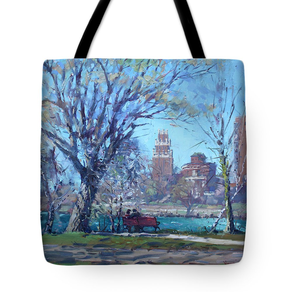 Spring Tote Bag featuring the painting Spring At Goat Island by Ylli Haruni