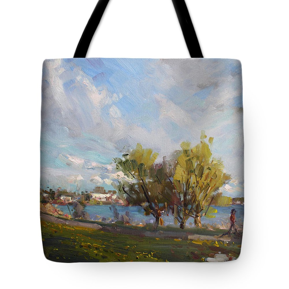 Spring Tote Bag featuring the painting Spring At Gratwick Waterfront Park by Ylli Haruni