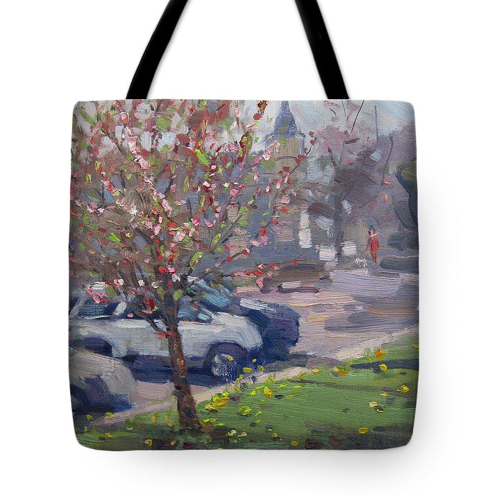 Spring Tote Bag featuring the painting Spring At Main St North Tonawanda by Ylli Haruni