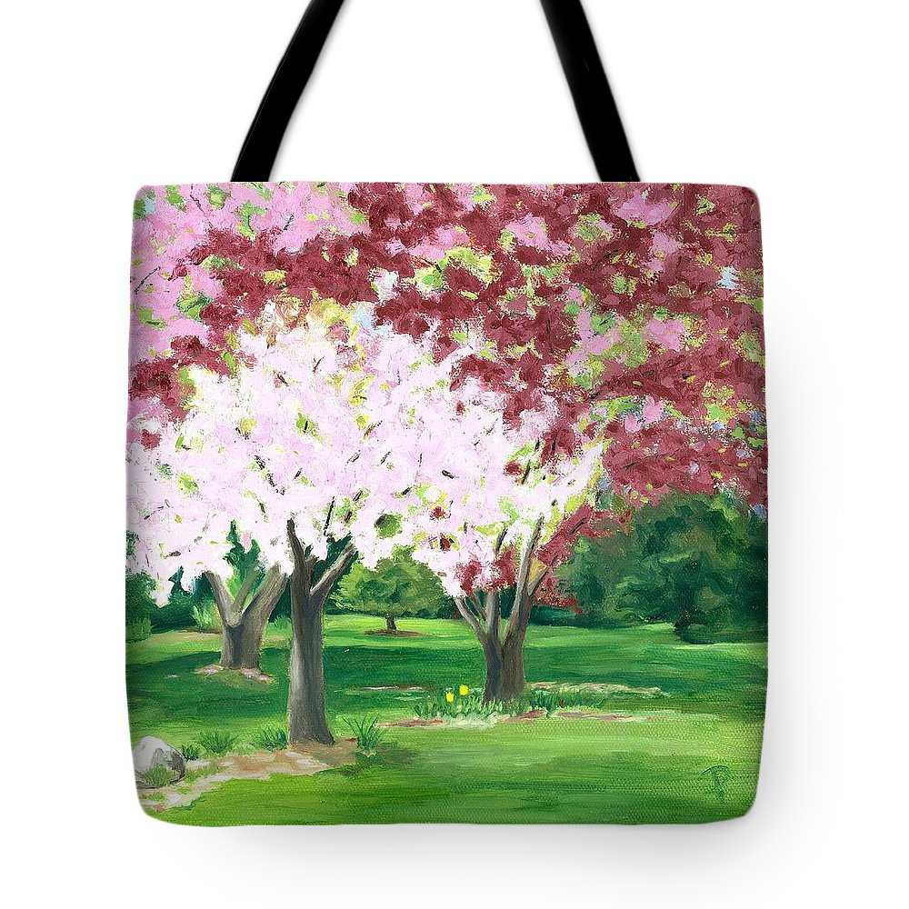 Spring Tote Bag featuring the painting Spring At Osage Land Trust by Paula Emery