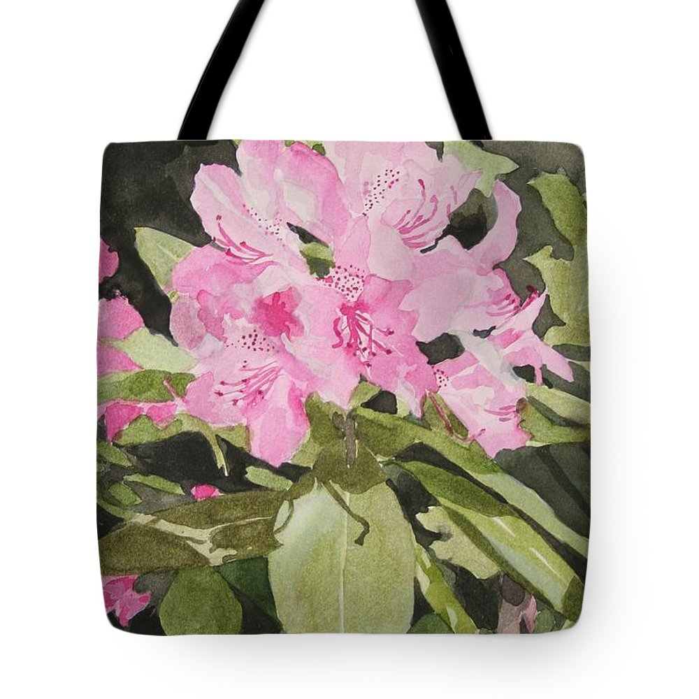 Flowers Tote Bag featuring the painting Spring At The Cabin by Jean Blackmer