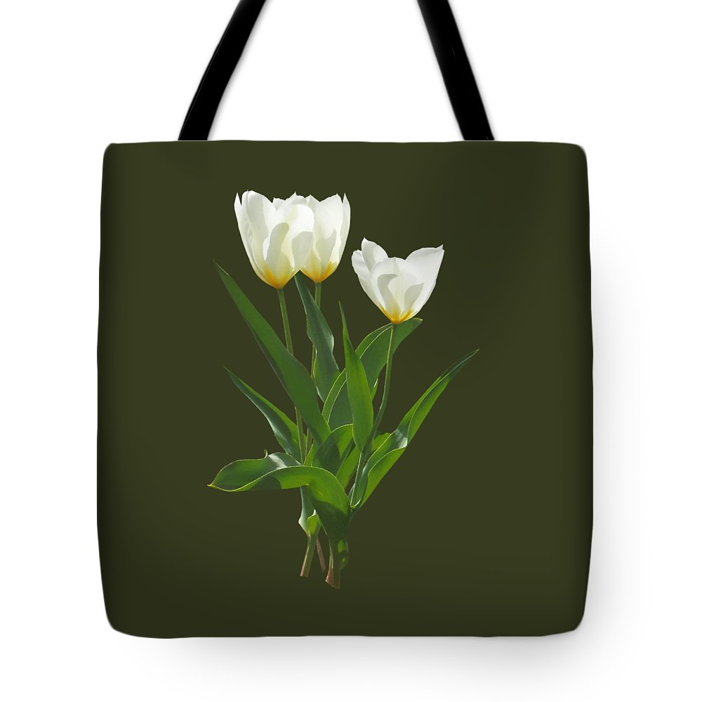 Tulip Tote Bag featuring the photograph Spring - Backlit White Tulips by Susan Savad