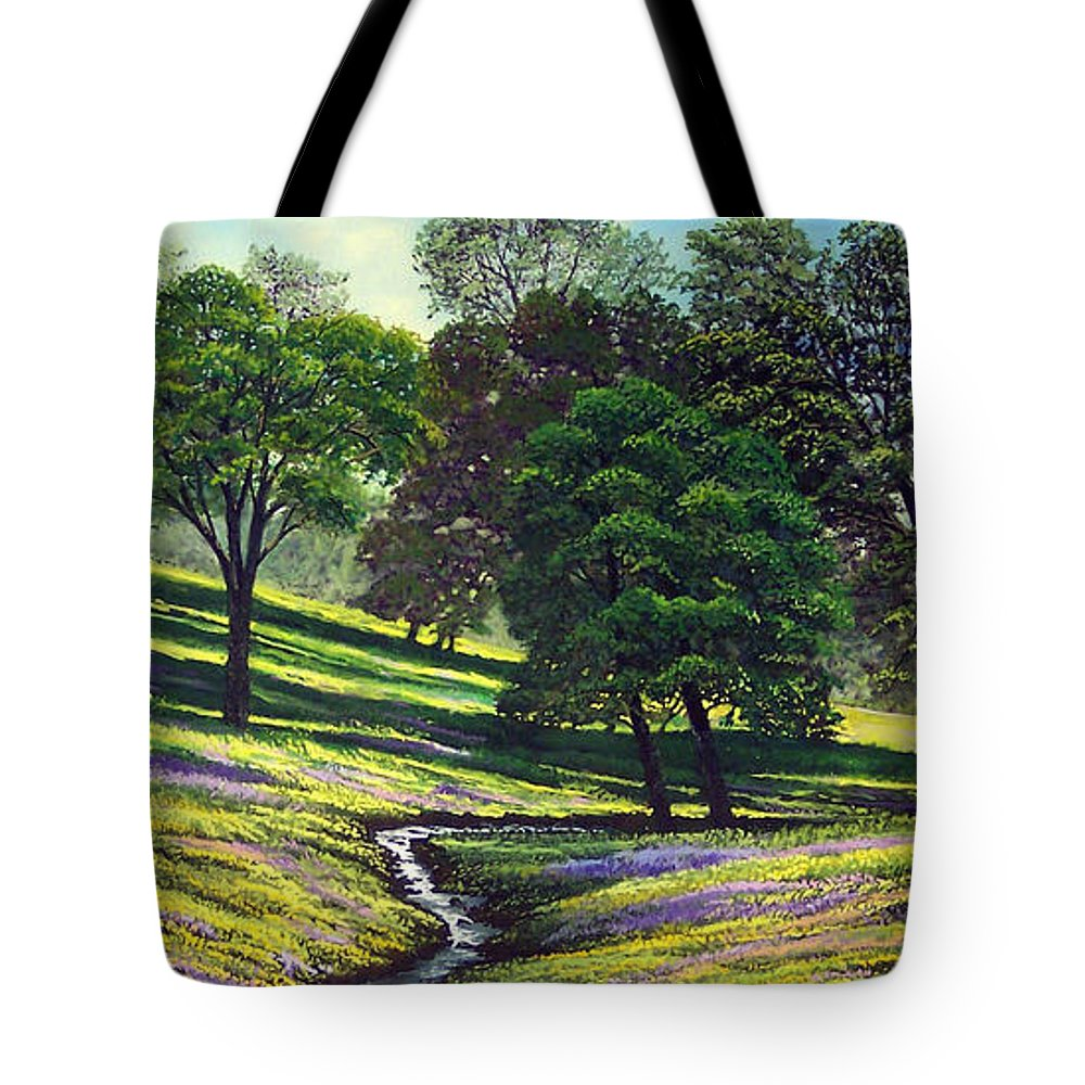 Landscape Tote Bag featuring the painting Spring Bloom Table Mountain by Frank Wilson