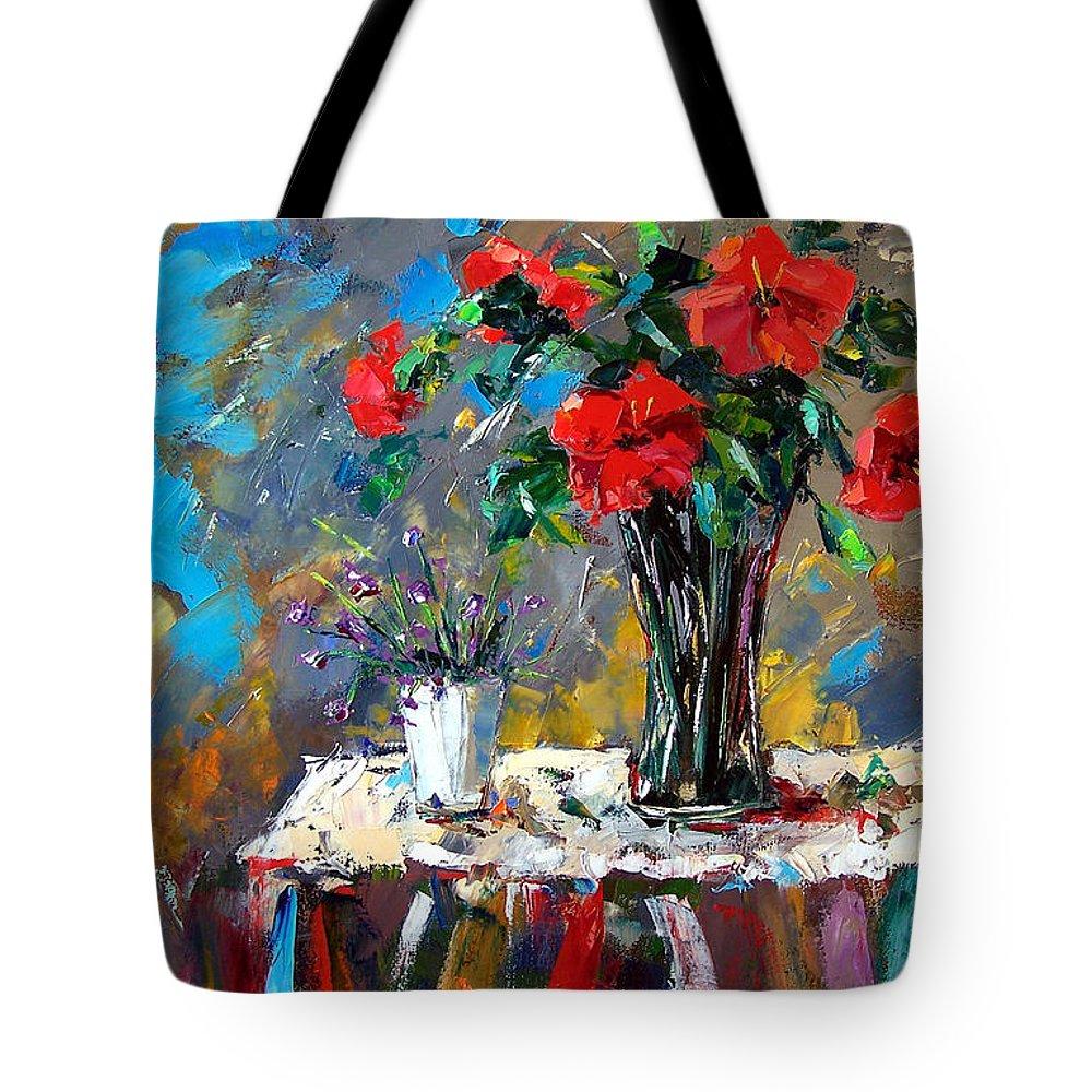Flowers Tote Bag featuring the painting Spring Blooms by Debra Hurd