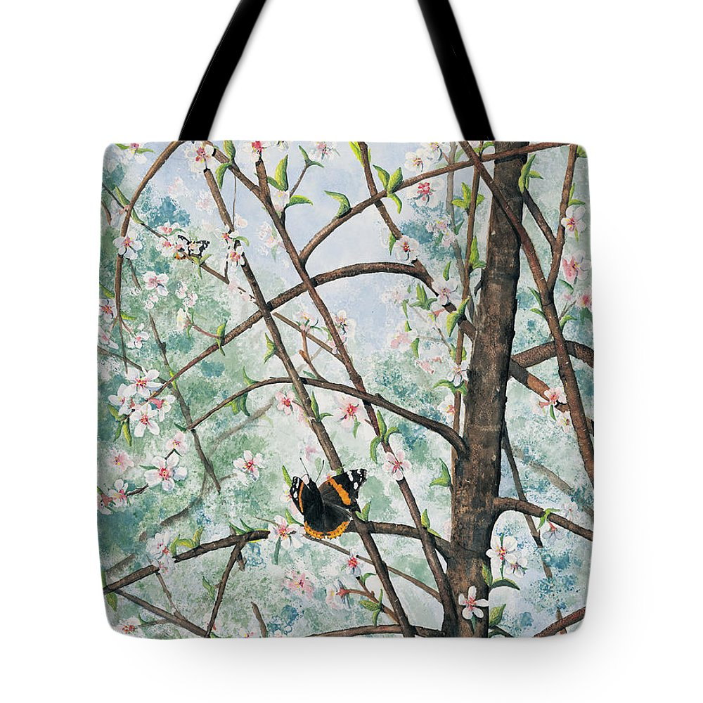 Butterfly Tote Bag featuring the painting Spring Blossom by Mary Tuomi