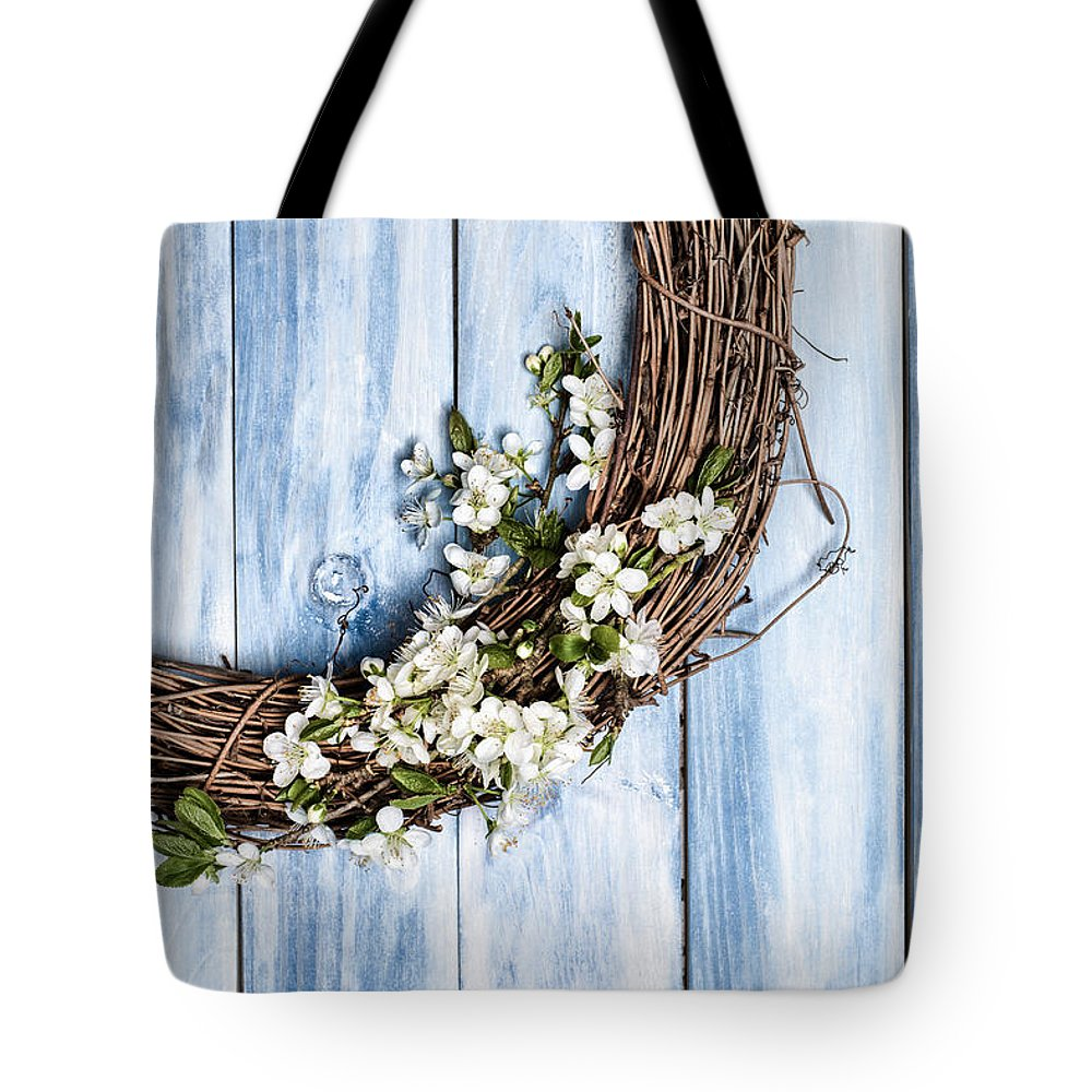 Garland Tote Bag featuring the photograph Spring Blossom Wreath by Amanda Elwell