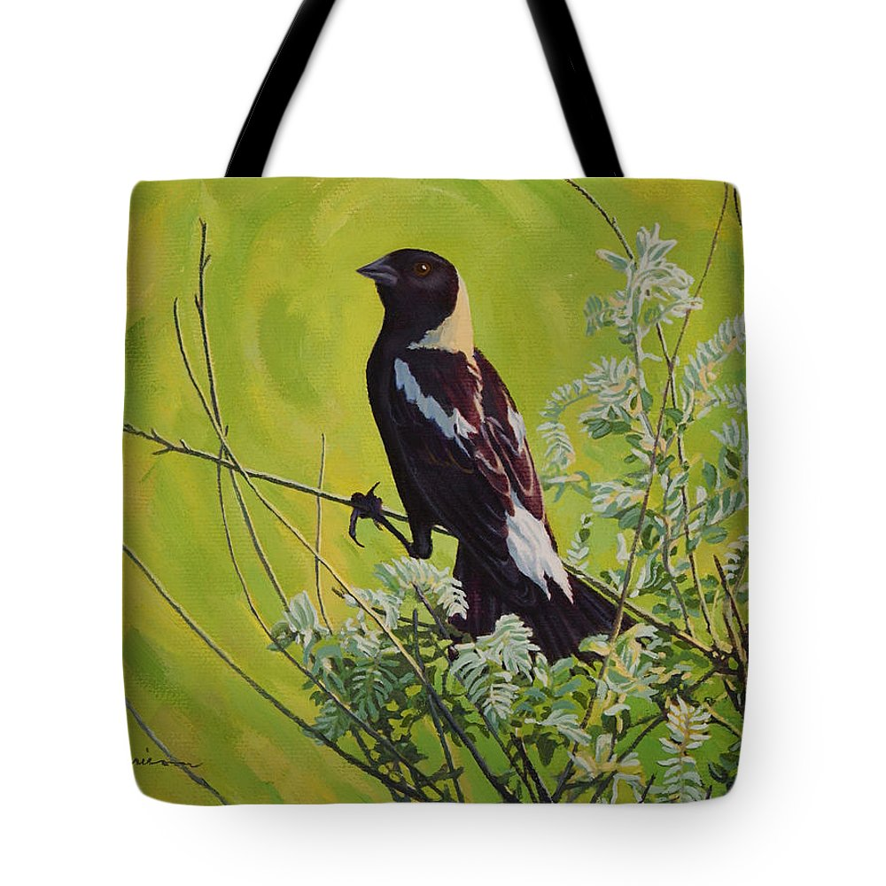 Bird Painting Tote Bag featuring the painting Spring Bobolink by Bruce Morrison