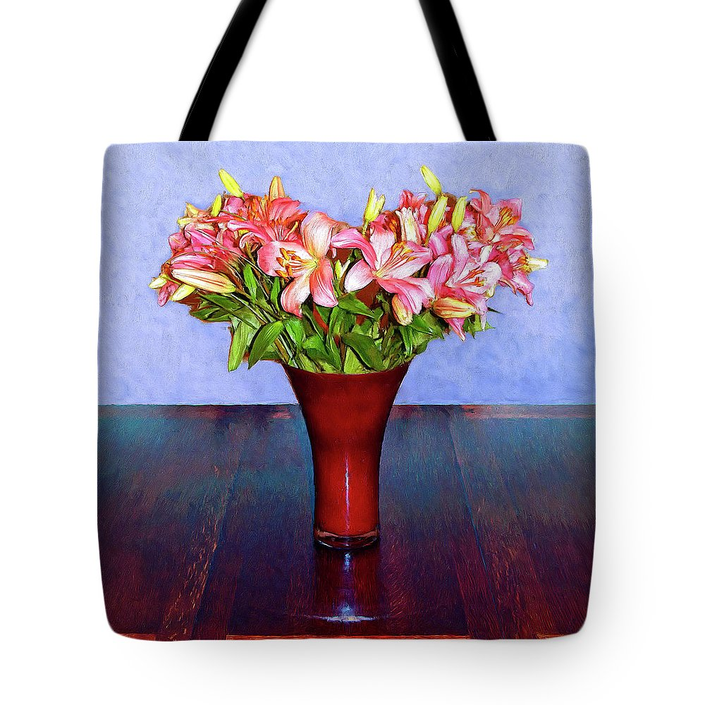 Flowers Tote Bag featuring the mixed media Spring Bouquet by Dominic Piperata