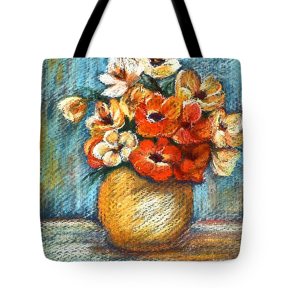 Stilllife Tote Bag featuring the drawing Spring Bouquet by Portraits By NC