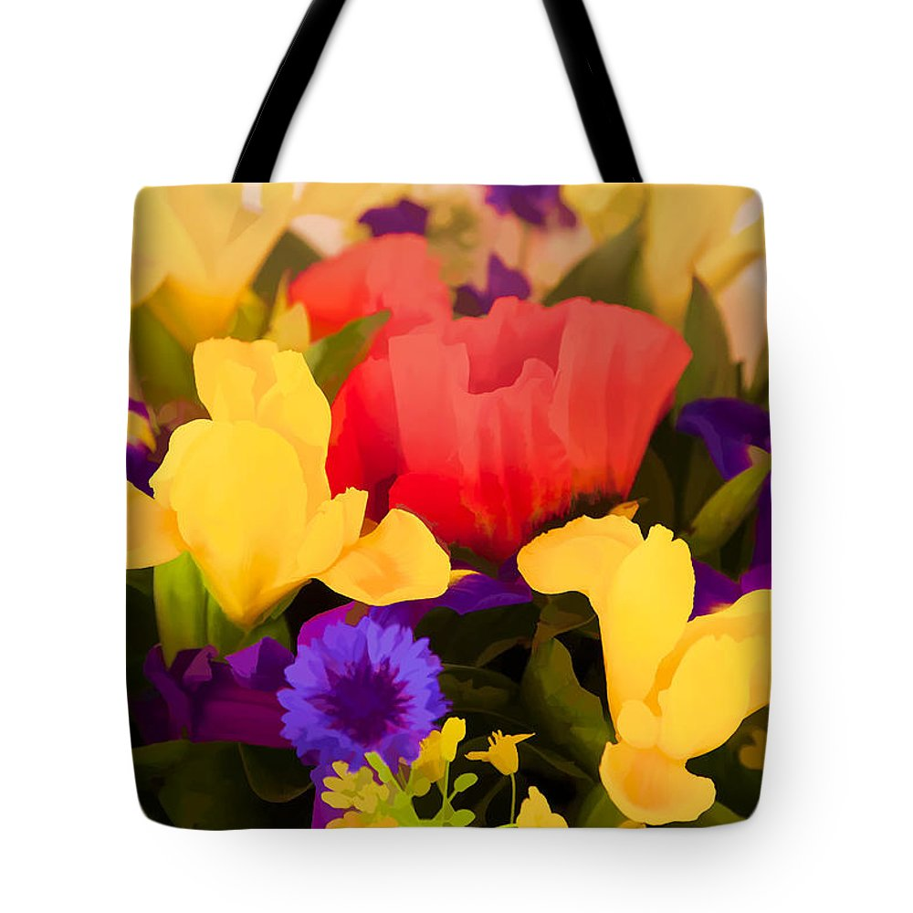 Flowers Tote Bag featuring the digital art Spring Bouquet by Janet Fikar