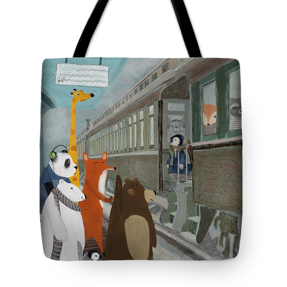 Trains Tote Bag featuring the painting Spring Break by Bri Buckley